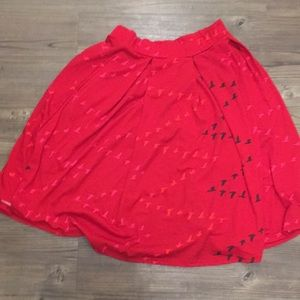 LULAROE SIZE M red birds Madison skirt